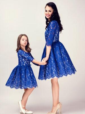 Rochii mama fiica electric blue