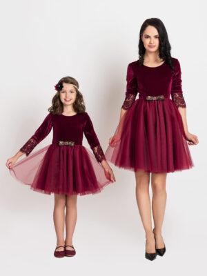rochii mama fiica Red Dark