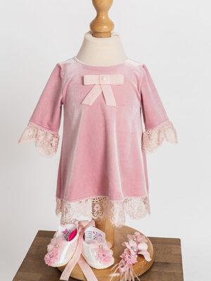 rochie velveteen pink baby