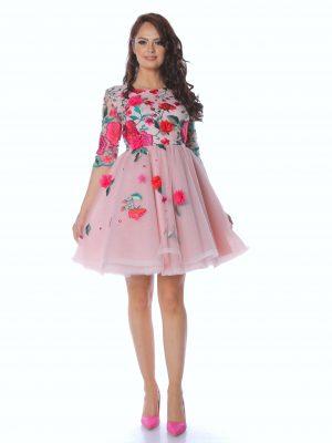 rochie dama fuchsia flowers dress