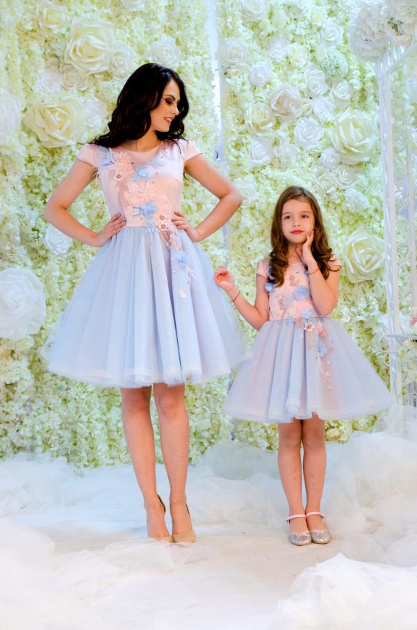 set rochii mama fiica blue and baby pink