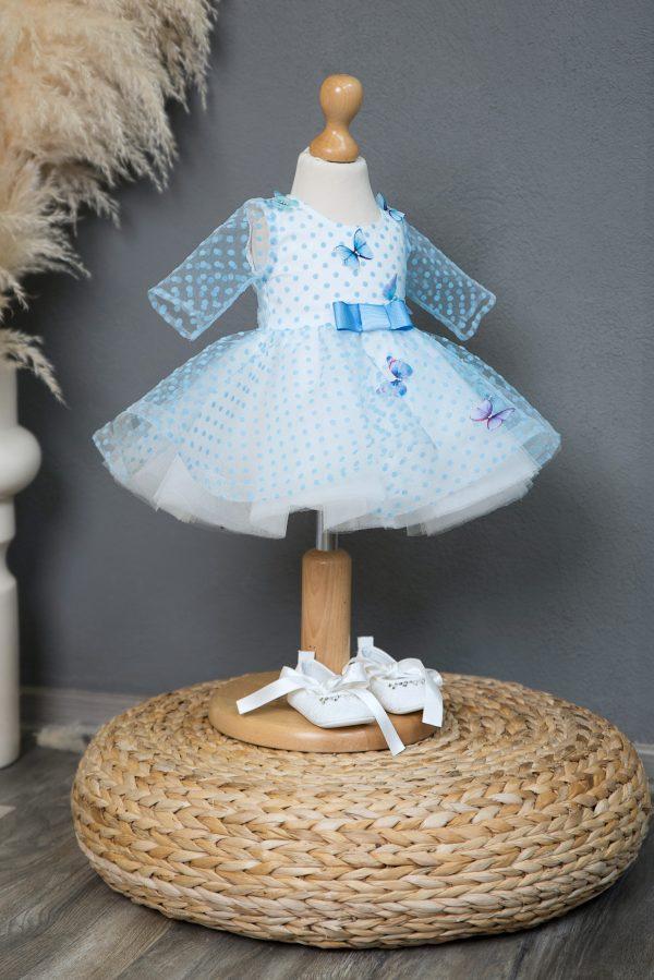 Rochie de botez Blue Butterflies Dress