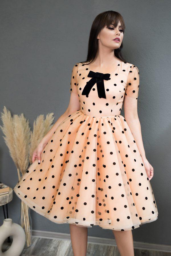 Rochie eleganta Black Dots Dress