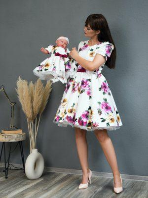 Rochii mama fiica White Rose Dress